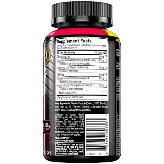 Hydroxycut Hardcore Elite 100 capsulas. Muscletech spec 1